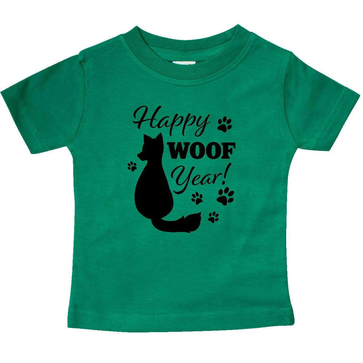 inktastic Happy Woof Year with Dog and Pawprints Baby T-Shirt