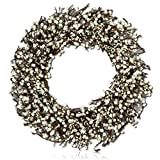 "Custom & Unique (12"" Inches) 1 Single Mid-Size Decorative Holiday Wreath for Door, Made of Resin, Glass, & Metal w/ Flocked Weaved Winter Cream Berries & Twig Branches Style (White, Brown, & Grey)"