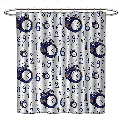 Anniutwo Clock Shower Curtains Waterproof Watercolor Style Effect with an Alarm Clock Illustration Caligraphic Numbers Bathroom Decor Sets with Hooks W36 x L72 Blue and White