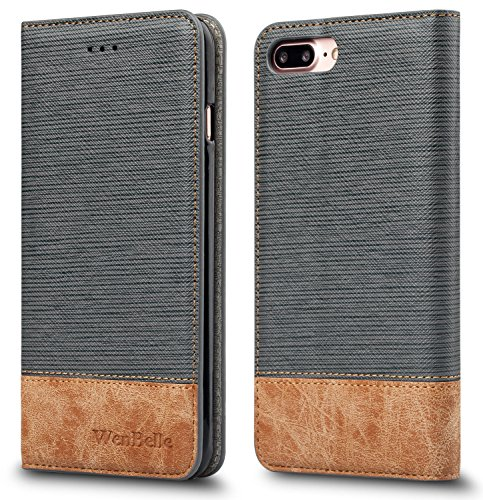 For iPhone 7 Plus Case,WenBelle [Blazers Series]Stand Feature,Double Layer Shock Absorbing Premium Soft PU Color matching Leather Wallet Cover Flip Cases For apple iPhone 7 Plus 5.5 Inch (Grey)