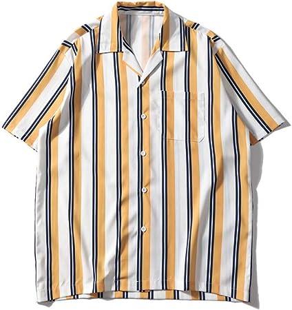CSDM Camisa de Hombre Bolsillo Delantero a Rayas Camisas Vintage Hombres Retro Street Men S Camisas Summer Beach Camisas Hombres: Amazon.es: Hogar