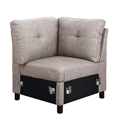 Gray Linen Fabric Modular Sectional Sofa Assembly, Corner Chair
