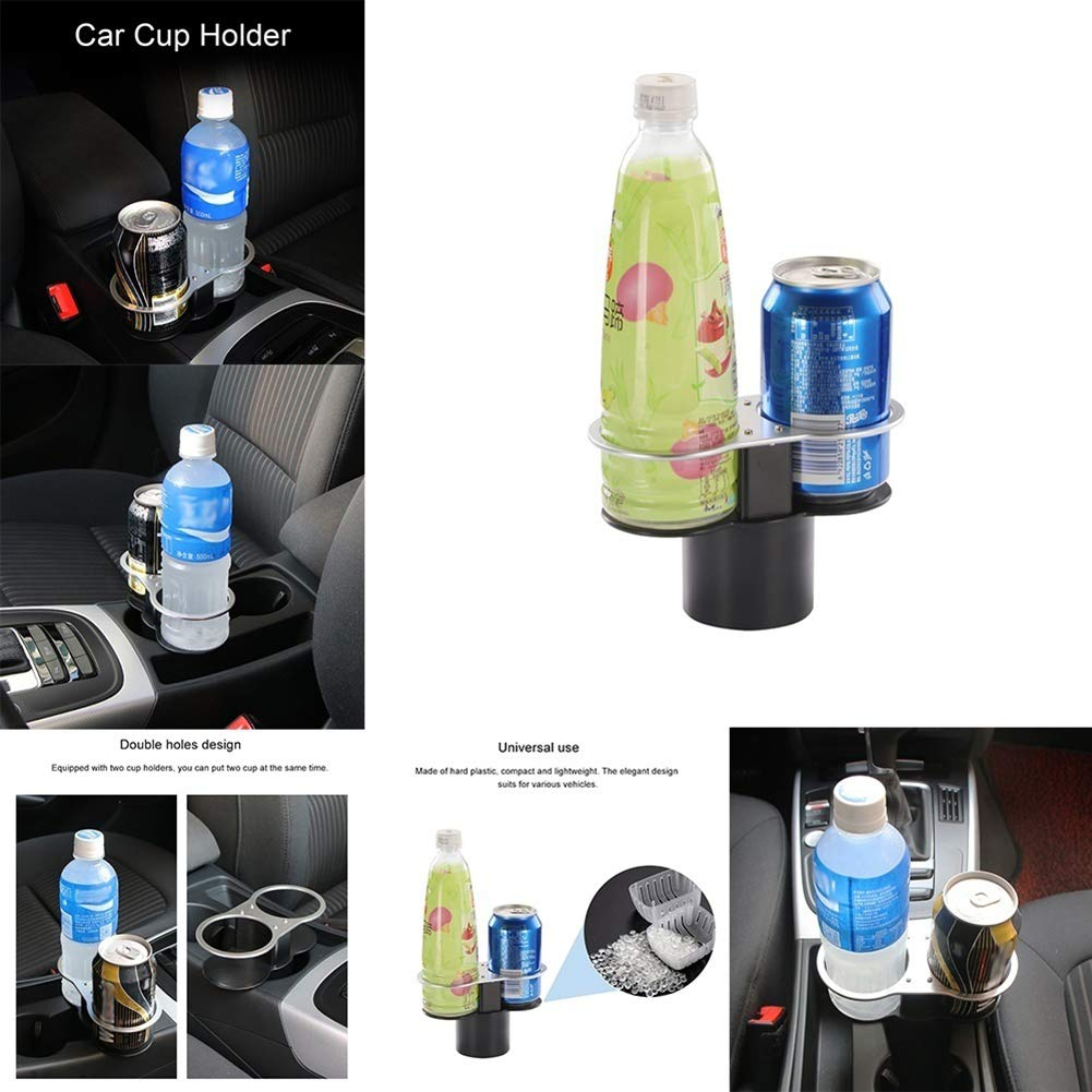 Car Cup Holder Expander,Adjustable 2 in 1 Multifunctional 2 Cup Mount Extender Unique Design Soft Drink Can Coffee Bottle Stand Universal Car Cup Holder