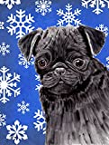 Caroline's Treasures SC9366GF Pug Winter Snowflakes Holiday Flag, Small, Multicolor For Sale