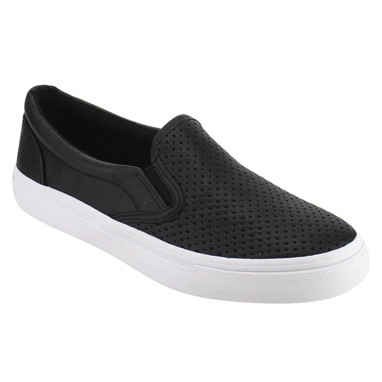 SODA IF14 Women's Perforated Slip On Elastic Panel Fashion Sneaker Black PU 8 by SODA