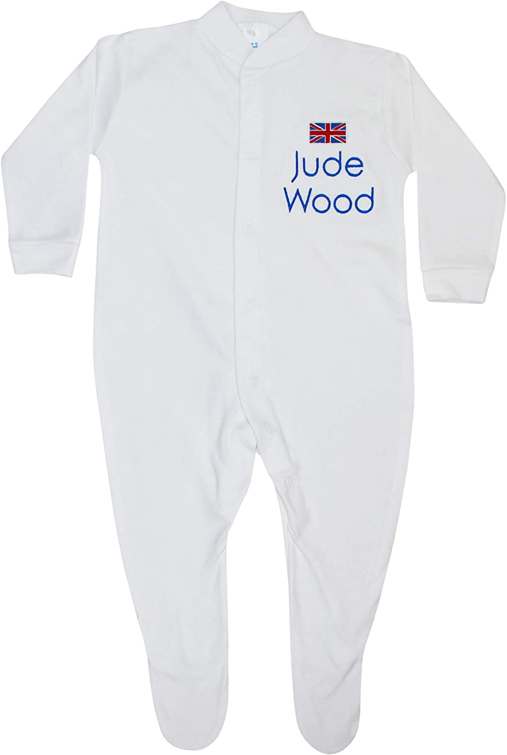 TeddyTs Baby Personalised White Great Britain All in One Sleepsuit