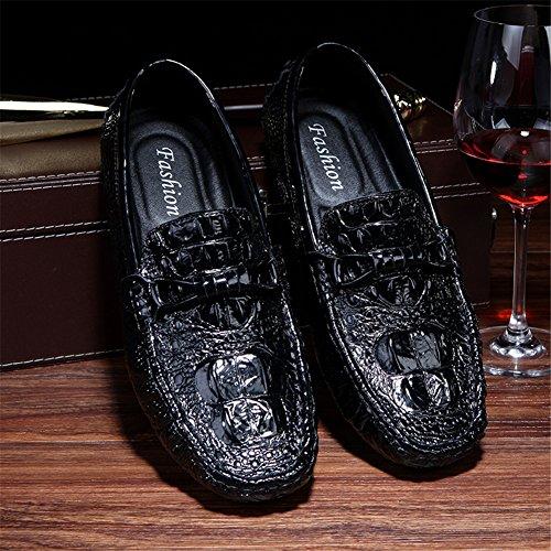 De Zapatos Patrón Zapatos De Conducción Negro Hombres Negro De Barco Cuero Cocodrilo 5Fqn8w8x