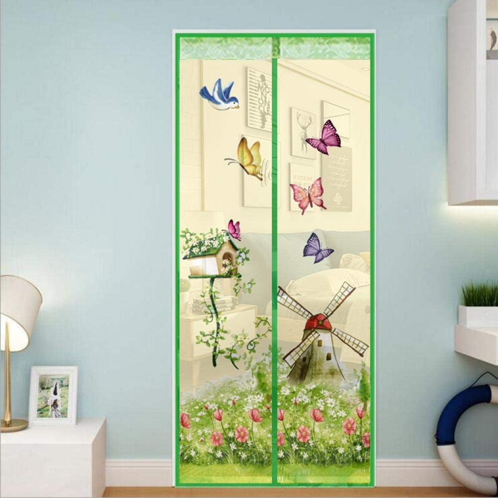 Qwqwqw Magnetic Fly Screen Door 90 100x210cm Butterfly Mute Magnetic Mosquito Door Net Summer Mosquito Free Mesh Magnetic Curtain Polyester Door 90x210cm Green Home Kitchen
