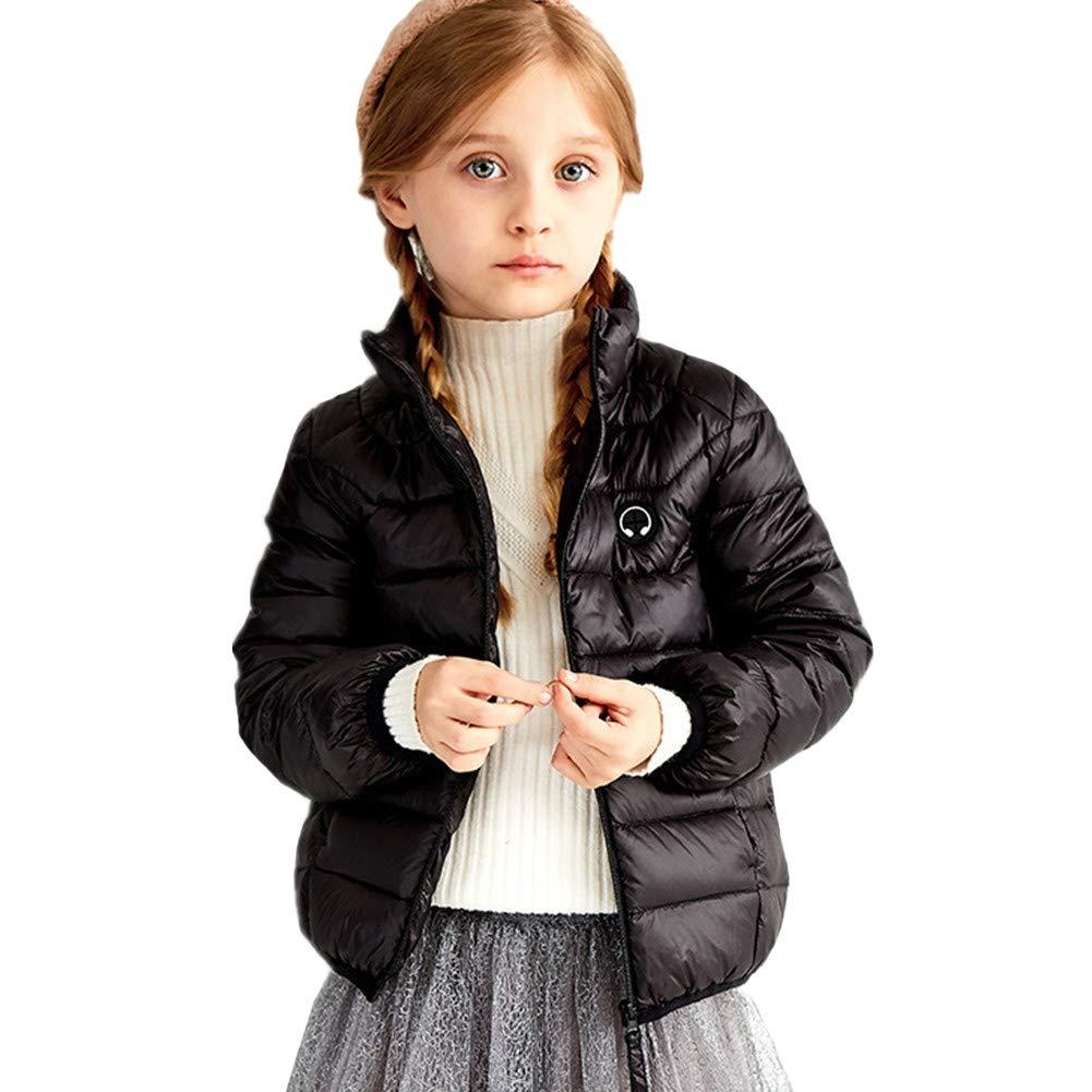 noir 160cm YZ-HODC Manteau en Duvet pour Enfants Filles et garçons à Court col Montant Chaud et à l'épreuve du Vent, Poids léger, Parfait pour Le Froid Hivernal