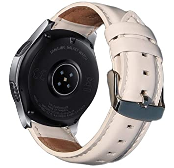 OTOPO Compatible with Galaxy Watch 46mm Bands & Ticwatch Pro Band, 22mm Quick Release Leather Wrist Strap Replacement Band Accessory for Samsung ...