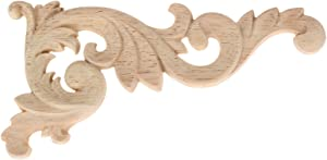 "MUXSAM 1pcs Wood Carved Corner Onlay Unpainted Applique Frame Door Decors Decal 15x8x0.8cm/5.9""x3.1""x0.3"""