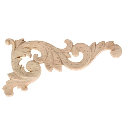 Amazon.com: 1pcs Wood Carved Corner Onlay Unpainted Applique Frame ...
