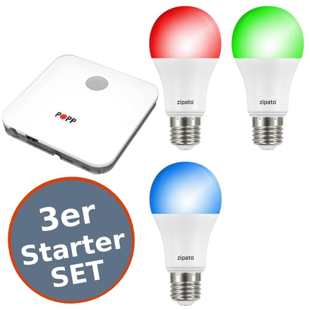 Starter Set Zipato 2 Smart LED E27 RGBW 9,5W Z-Wave Plus iOS Android + Gateway Auswahl 3er Set