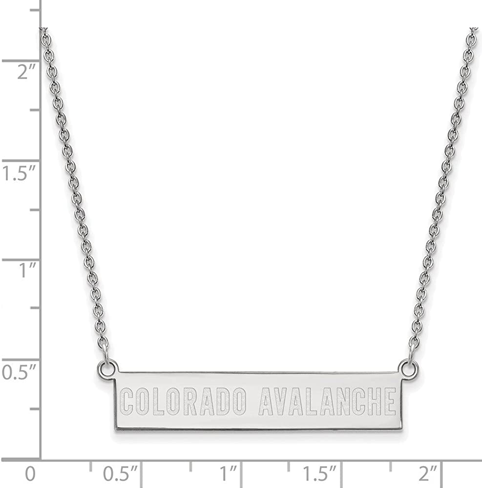 Solid 925 Sterling Silver Official Colorado Avalanche Small Bar Pendant Necklace Charm Chain