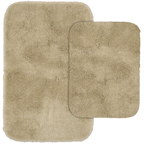 Garland Rug 2-Piece Finest Luxury Ultra Plush Washable Nylon Bathroom Rug Set, Linen - Two Piece Toilet Set