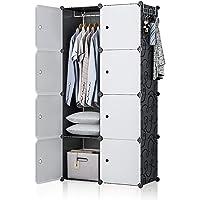 GEORGE&DANIS Portable Closet Wardrobe Plastic Dresser Bedroom Armoire DIY Cube Storage Organizer, Black, 18 inches Depth, 2x4 Tiers