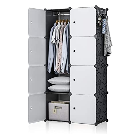 GEORGE&DANIS Portable Wardrobe Closet Plastic Dresser Bedroom Armoire DIY  Cube Storage Organizer, Black, 18 inches Depth, 2x4 Tiers
