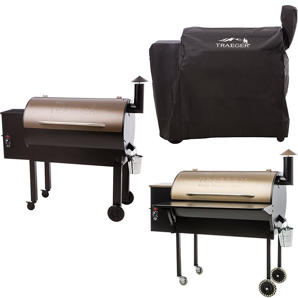 Traeger TFB65LZBC Grills Texas Elite 34 Wood Pellet Grill and Smoker (Bronze), with Full Length Grill Cover and Folding Shelf