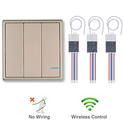SuperInk 3-Gang Gold Plate Wireless Light Switch with 110V Receiver on 3 phase light switch wiring, 3 gang light switches, 3 gang electrical wiring, 3 gang dimmer switch, 4 gang light switch wiring, 2 gang light switch wiring,