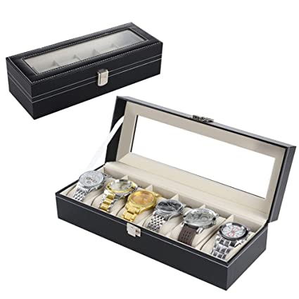 Zogin - Caja de presentación para relojes y joyas, 6 compartimentos