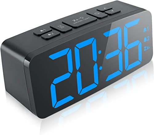 Digital Alarm Clock, 6.3 Large LED Display Digital Alarm Clock with Big Number,6 Level Adjustable Brightness Dimmer and Snooze, Simple LED Clock with Dual Alarm, Powered by AC Adapter Blue