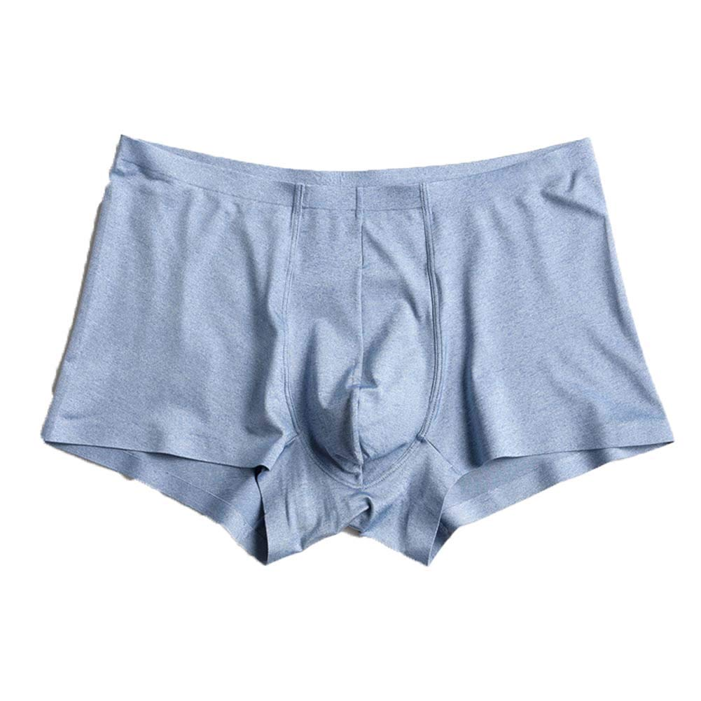 DADAO Men's Underwear Boxer Briefs Big and Tall Sexy Breathable,Ice Silk Seamless one-Piece Boxer-3pack,Blue,M