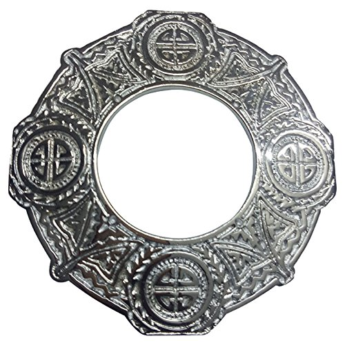 AAR Celtic Knot Chrome Finish Fly Plaid Piper Brooch for 3