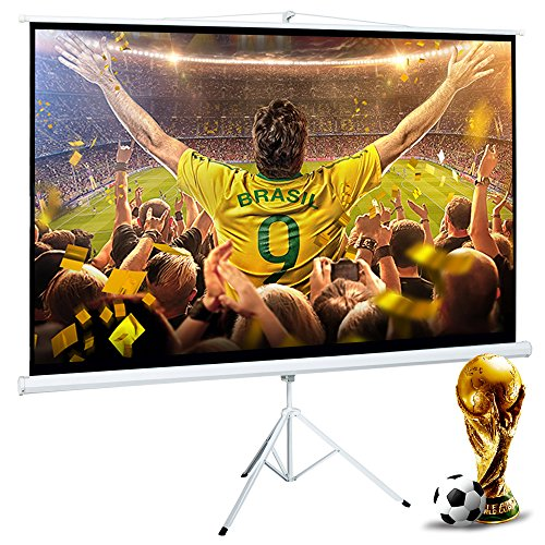 Cloud Mountain 100 Inch 16:9 Projector Screen with Stand Portable Indoor Outdoor Pull Up Tripod Stand Projection Screen for Home Theater Office School (Adjustable Aspect Ratio, 1.1 Gain, Matte White)