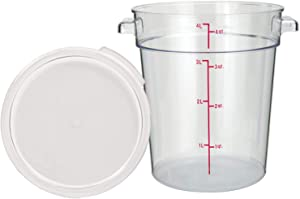 Tiger Chef 4 Quart Commercial Grade Clear Food Storage Round Polycarbonate Containers With Clear Lids