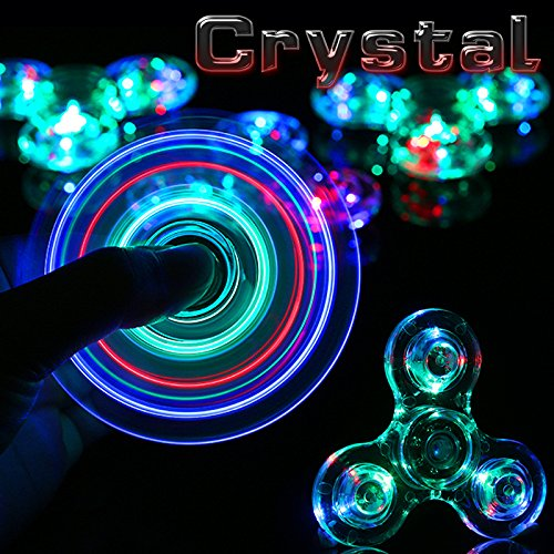 Stryker [TM] Crystal Clear LED Light Acrylic Hand Spinner Fidget EDC ADHD Stress Reducer Focus Anxiety Relief for Adults & Kids Glow in the Dark
