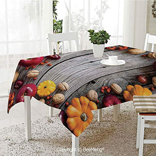 (BeeMeng Large dustproof Waterproof Tablecloth,Family Table Decoration,Modern,Natural Vegetables Walnut Wood Rustic Print Home or Cafe Kitchenware Art Apples,Grey Yellow Red,70 x 104 inches)