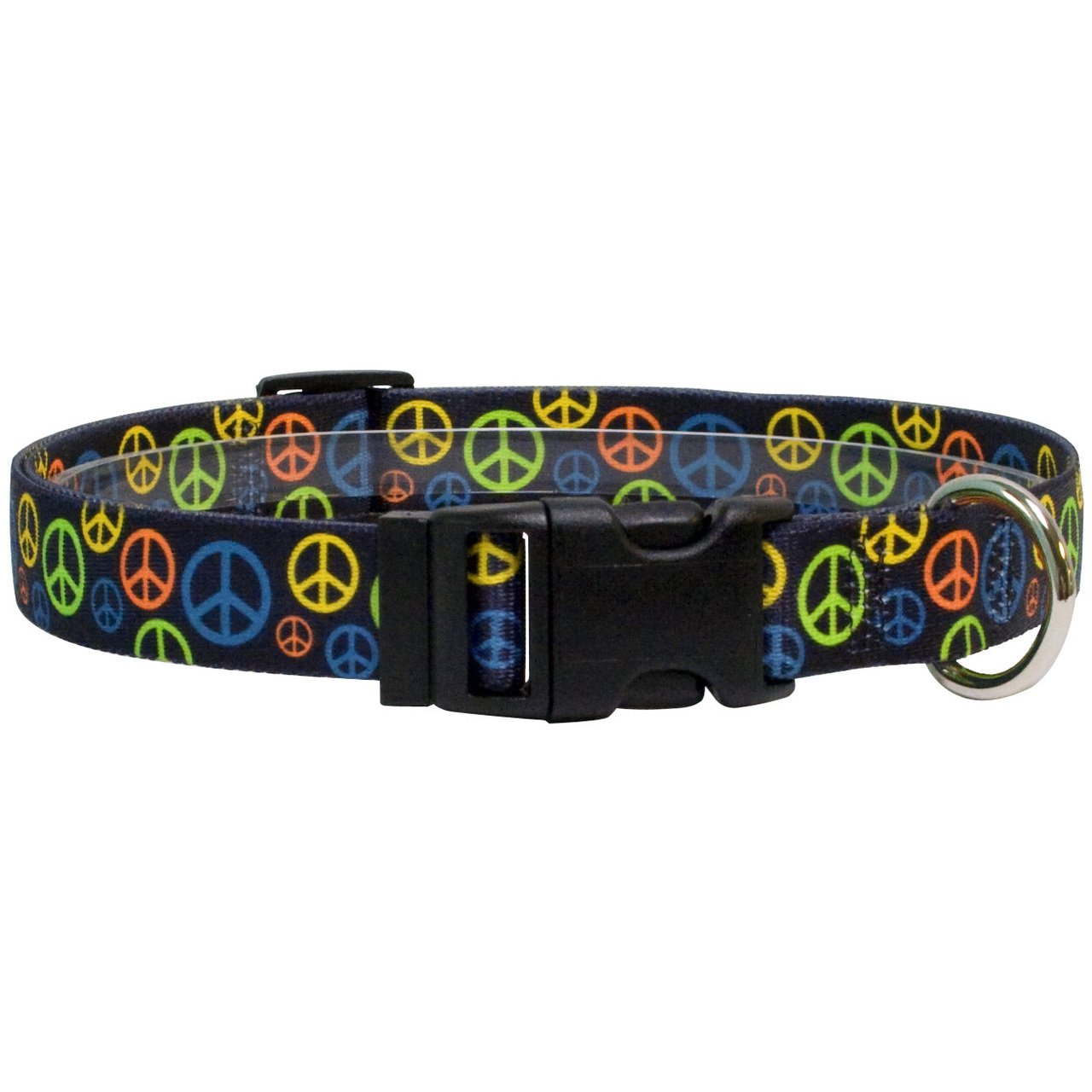 Yellow Dog Design Neon Peace Signs Dog Collar, Medium-1'' wide fits neck sizes 14 to 20'' wide