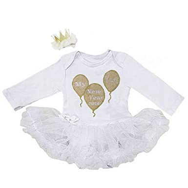 Amazon.com: G&G - Cute White 1st New Years Outfit Baby Girl 0-3 3-6 ...