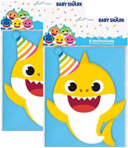 Shark Party 8 ct Invitations and Envelopes (2 Pack)
