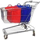 VAIIGO 2 Buste Per Carrello della Spesa,Borsa Spesa Per Carrello Borse Carrelli Spesa Baggy Borse Tote, Vari Colori, 32 x 48 x 41cm (blu/rosso)