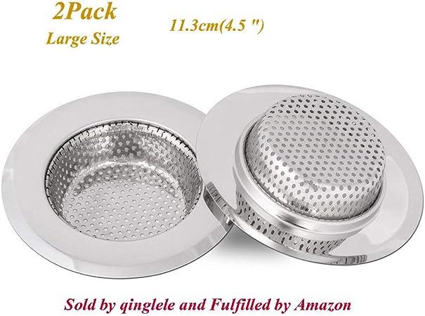 con 2 Pezzi Filtro di Silicone /Ø80 mm Tappo Cestello per Lavabo Foro Colino, accessori lavello 3,5 inch Filtro lavello cucina scarico lavello in acciaio inox tappi lavello