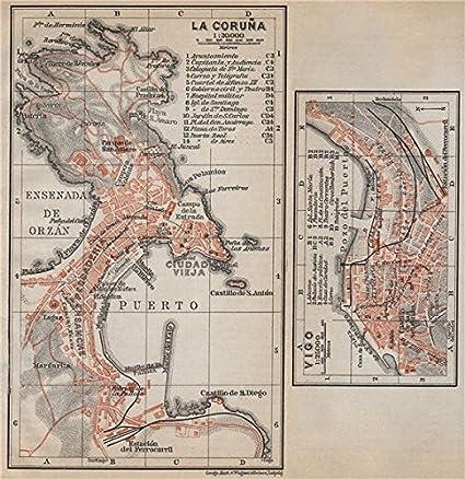 Map Of Spain La Coruna.Amazon Com La Coruna Vigo Antique Town City Ciudad Plans Spain