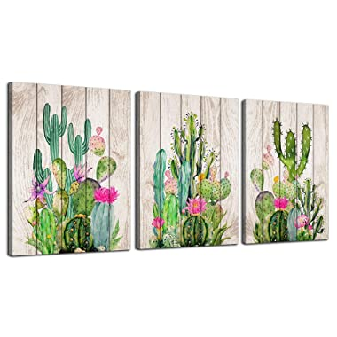 Canvas Art Green Cactus Wooden Board Plant Painting Wall Art Decor 12  x 16  3 Pieces Framed Canvas Prints Watercolor Ready to Hang for Home Decoration Bedroom Living Room Kitchen Bathroom Artwork