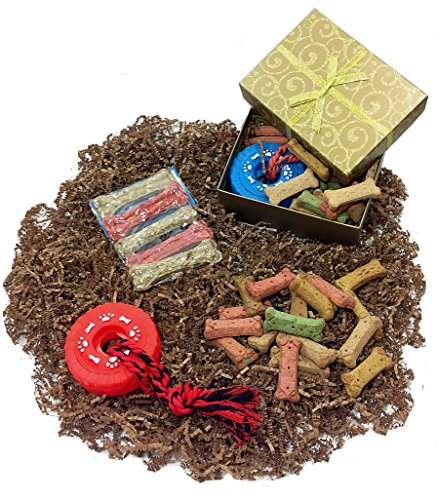 Mothers Day Dog Gift Box of Biscuits with Squeaky Tire Rope Toy & Munchy Chew Bones