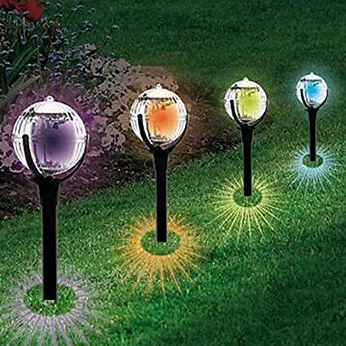 Iuhan 2Pcs Solar Landscape Light, Hot Sale 2Pcs Garden Pathway Lights for Outdoor Solar Landscape Path Yard Colorful Light (Black)