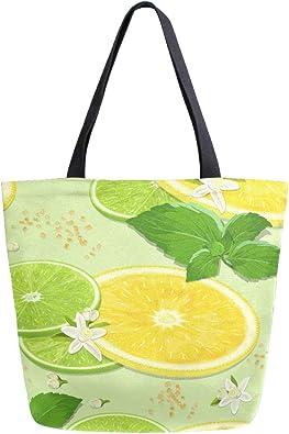 Naanle Fruit Lemon Bolsa de lona grande para mujer, bolso de ...