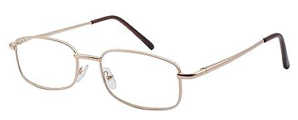deb458a807 TBOC Gafas de Lectura Presbicia Vista Cansada - Graduadas +1.00 Dioptrías  Montura Metálica Dorada Ligera