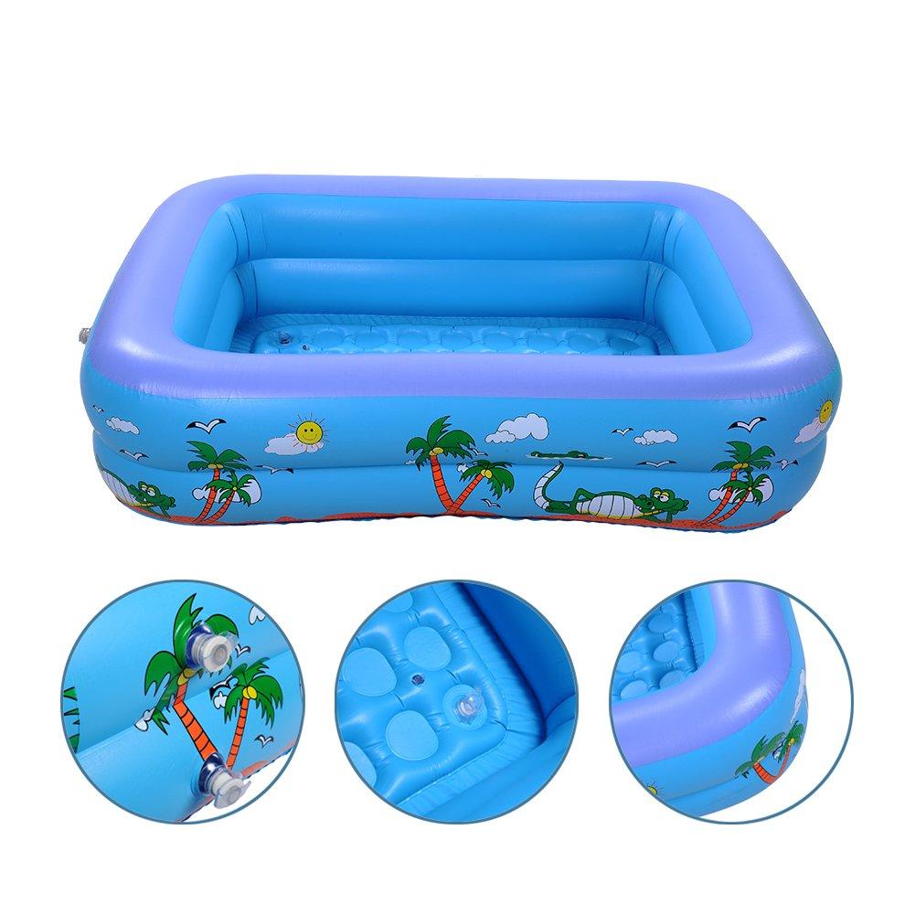 Multi-couche Rectangulaire Gonflable Piscines et Bassins pour enfants Portable et Sécuritaires Piscines (2 couches, S) Per
