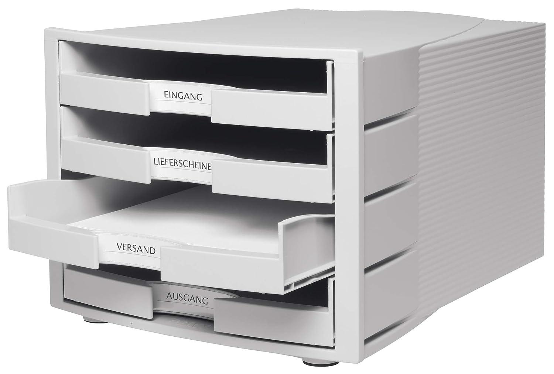 Beschriftungsschilder Stapelbare Sortierablage mit 4 gro/ßen inkl offenen Schubladen f/ür DIN A4//C4 HAN Schubladenbox IMPULS in Schwarz