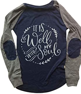 f95b72585 It is Well with My Soul Christian T Shirt Women Long Sleeve Patches Blouse  Tops
