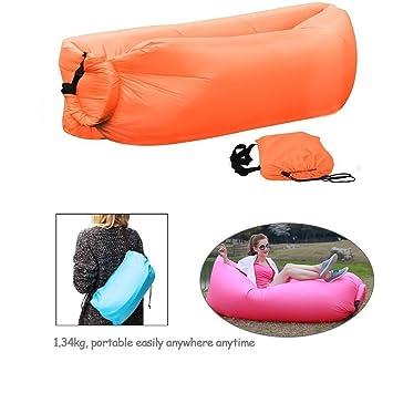 TIODIO® - Colchoneta hinchable, lazy sofá, de nailon, tejido de compresión, ideal para camping, playa, viajes, visitas, pesca, etc