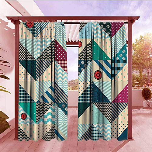Greige Button - Curtains Rod Pocket Two Panels Farmhouse Decor Chevron Patchwork with Vintage Stylized Line and Retro Button Forms Kitsch Artsy Outdoor Privacy Porch Curtains W108x84L Multi