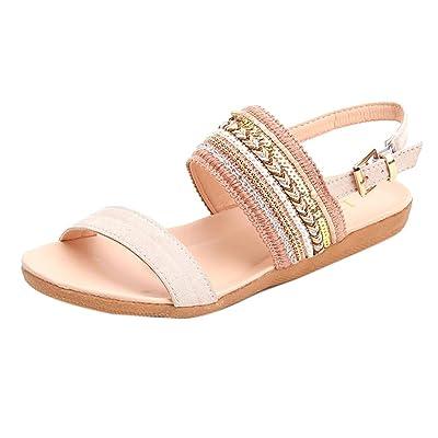 Amlaiworld Sandales Femmes, Pantoufles Bohème Sandales Plates Flip Flops Chaussures de Cheville de Plage