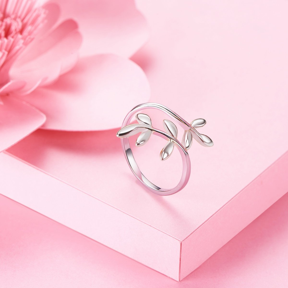 Sweetiee 925 Sterling Silver Open Ring Laurel Wreath Platinum Size Q ...