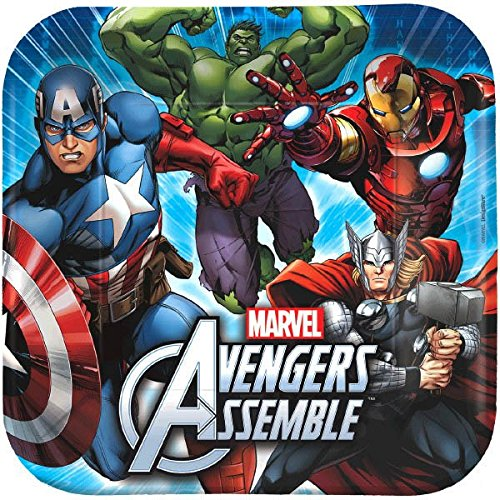 8 Count Avengers Square Dinner Plates, (Custom Hulk Costumes)